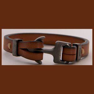 Fossil Anchor Leather Bracelet